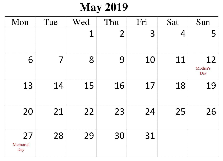 Calendar May 2019 With Holidays PDF