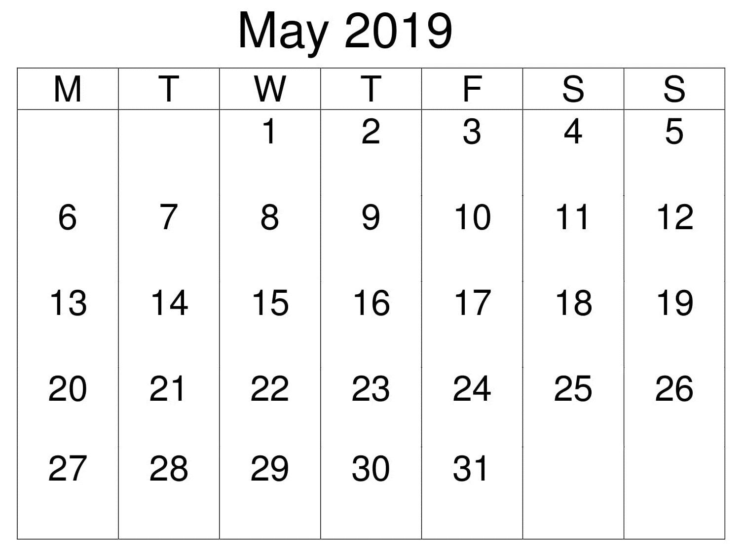 Calendar Printable May 2019 Editable