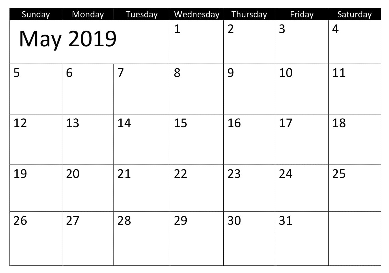 Calendar Printable May 2019 Excel