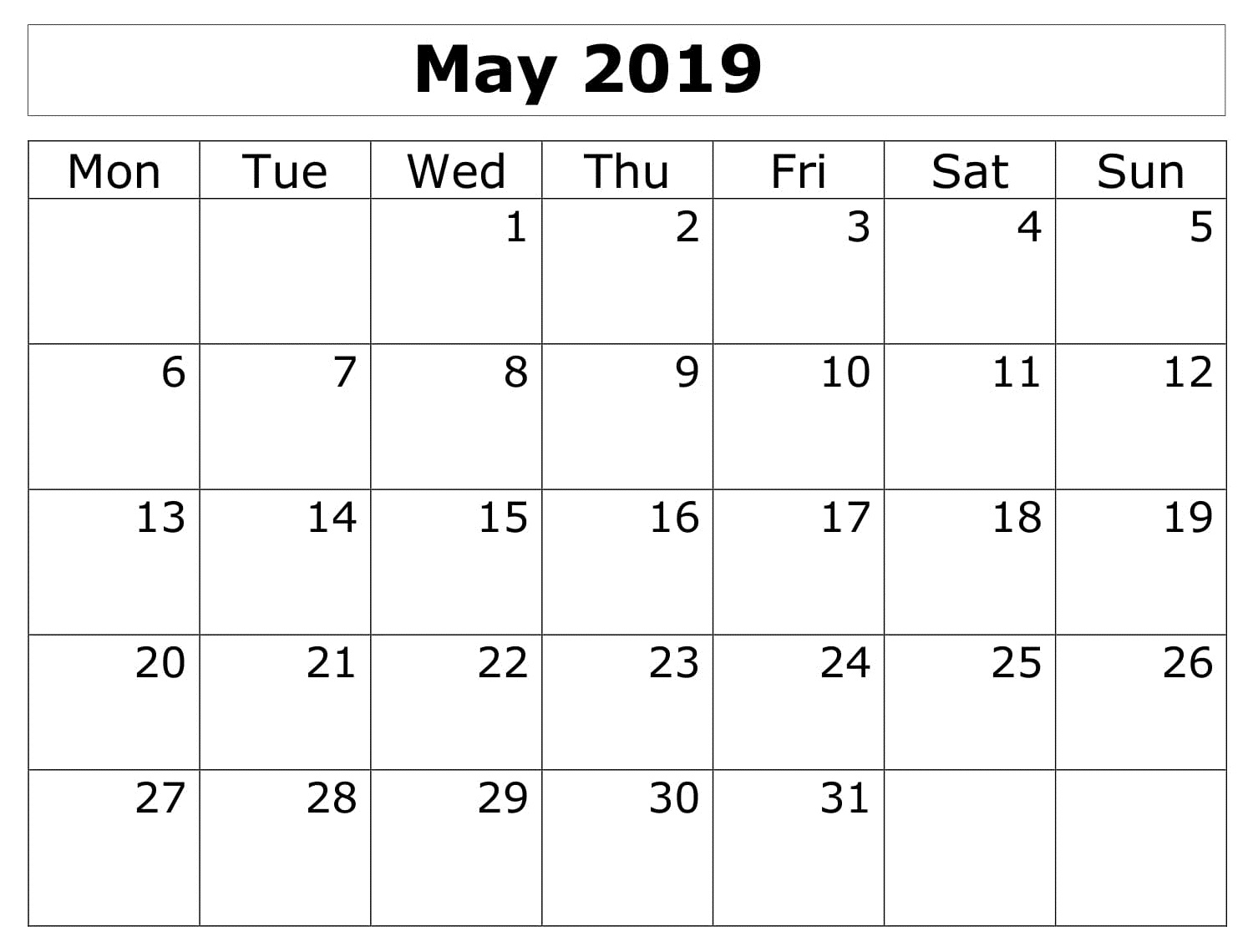 Calendar Printable May 2019 Monthly