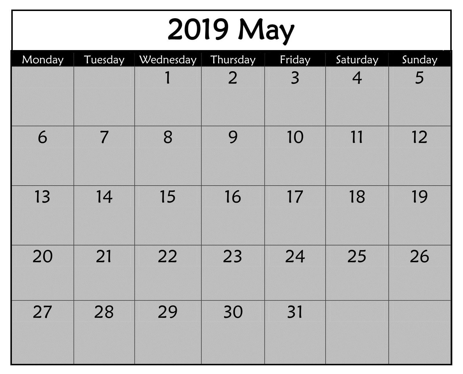 Calendar Printable May 2019 Professional