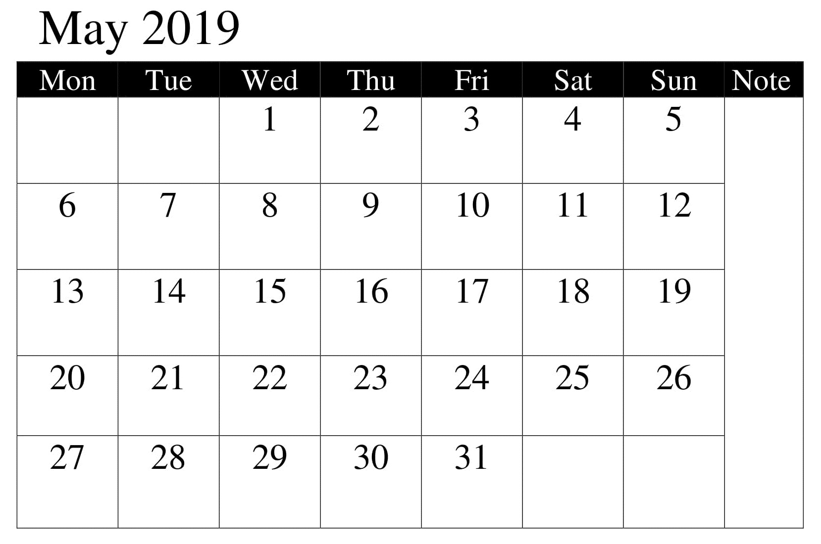 Calendar Printable May 2019 Template