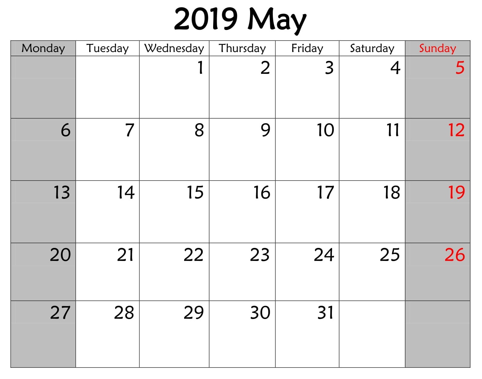 Calendar Printable May 2019 Word