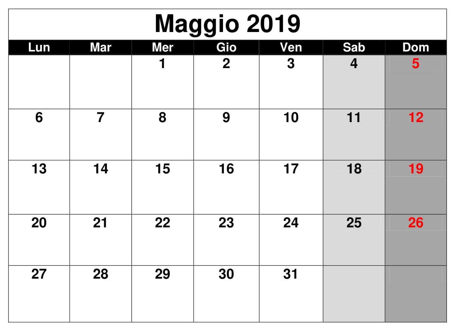 Calendario 2019 Mensile Maggio PDF