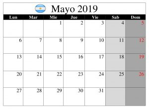 Calendario Argentina Mayo 2019 Word