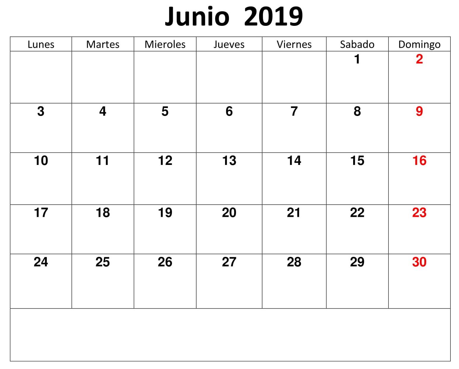 Calendario Junio 2019 Editable Para Imprimir