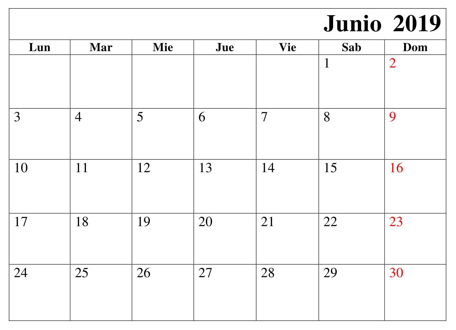 Calendario Junio Grande Para Imprimir 2019