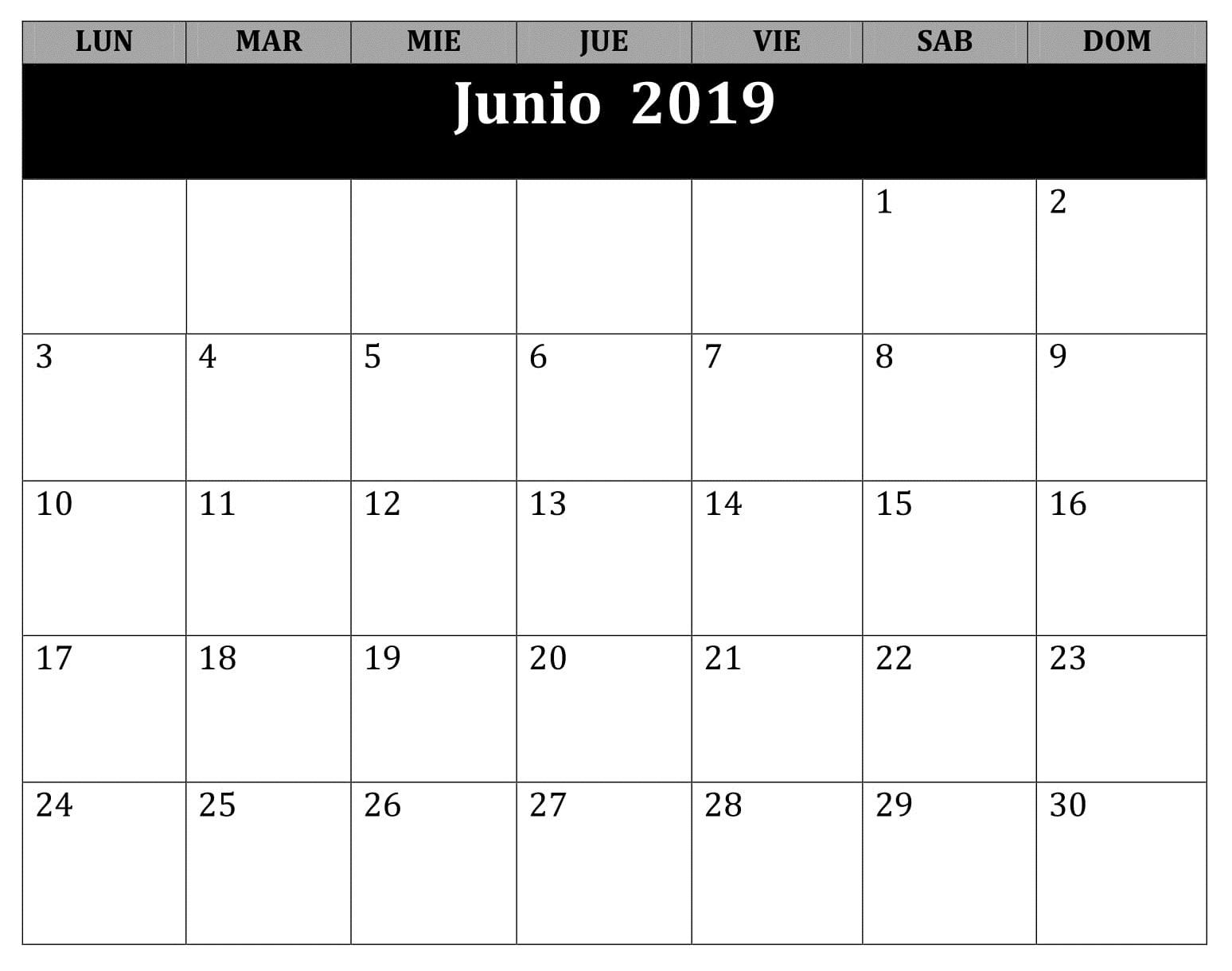 Calendario Junio Mes 2019