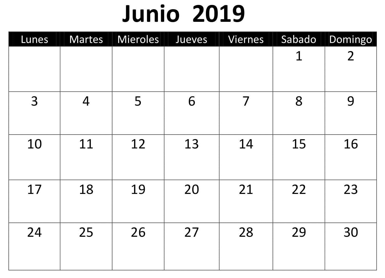 Calendario Junio Para Imprimir 2019 PDF