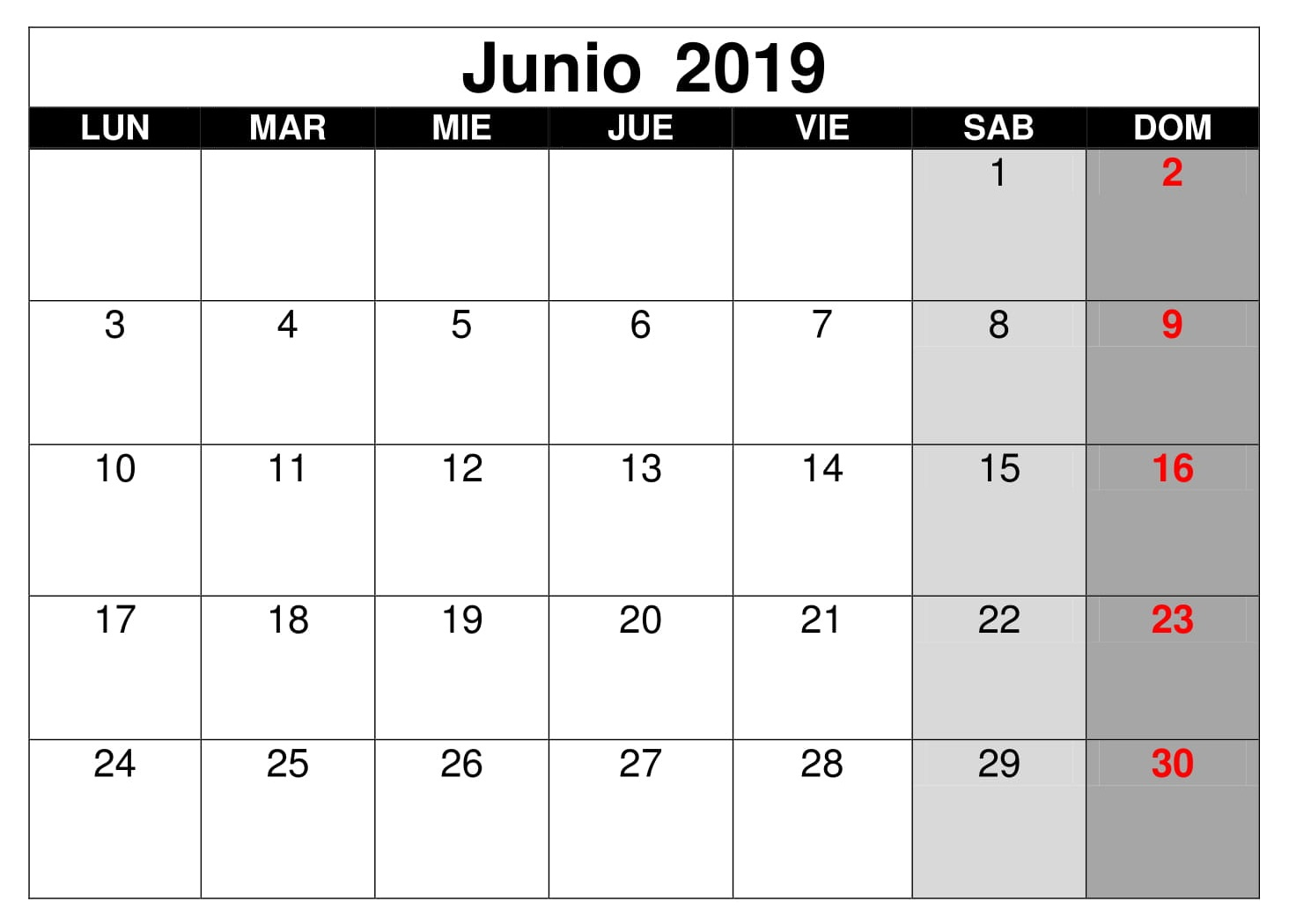 Calendario Junio Word 2019