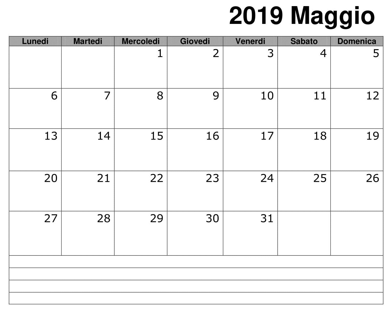 Calendario Maggio 2019 Documento