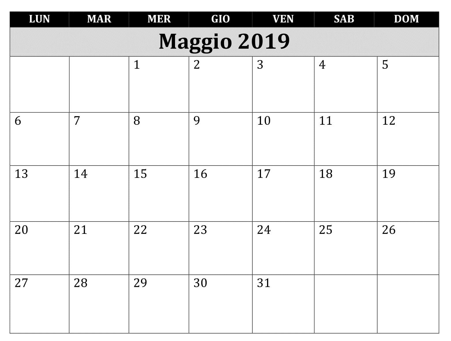 Calendario Maggio 2019 Excel