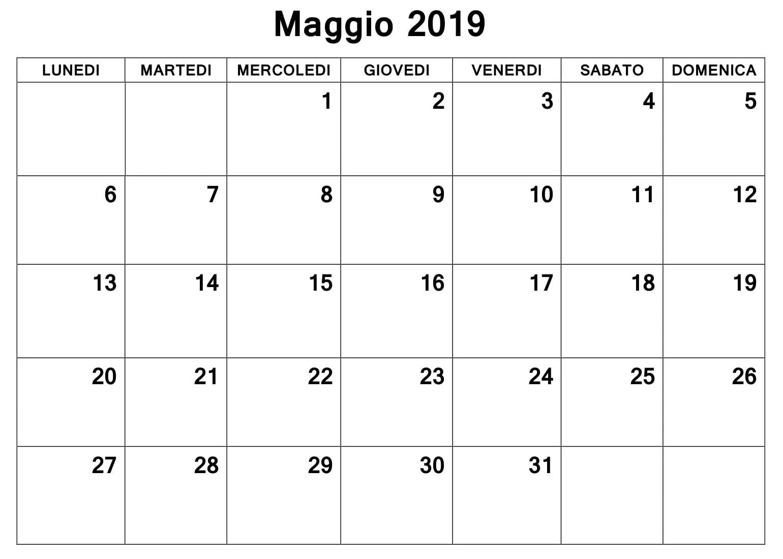 Calendario Maggio 2019 Professionale