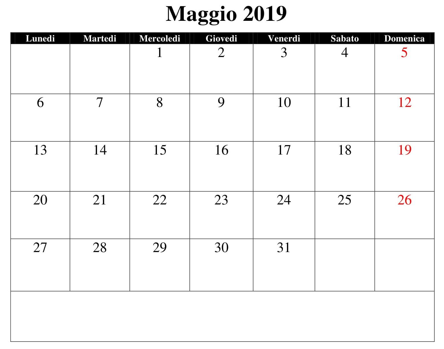 Calendario Maggio 2019 Word