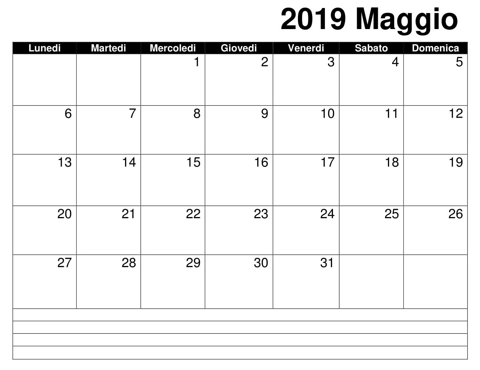 Calendario Maggio Stampabile 2019 PDF