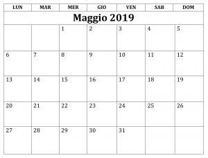 Calendario Maggio Stili 2019 PDF