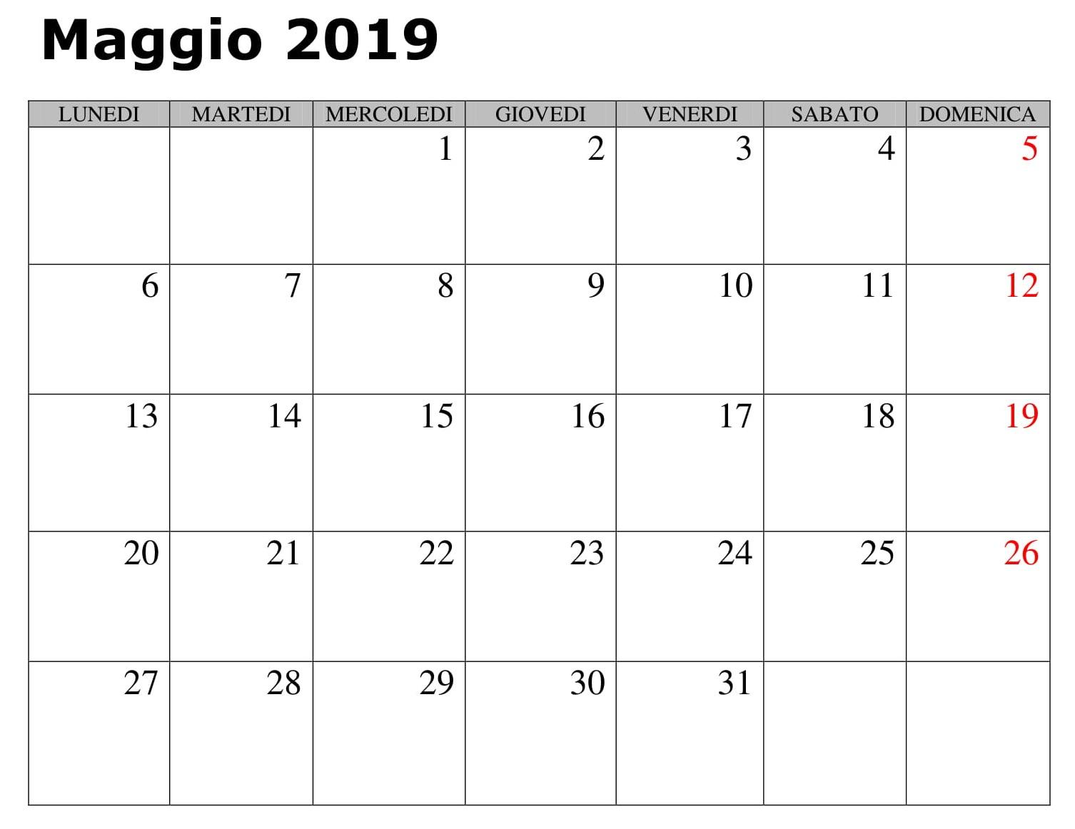 Calendario Maggio Vuoto 2019