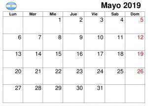Calendario Mayo 2019 Editable Argentina