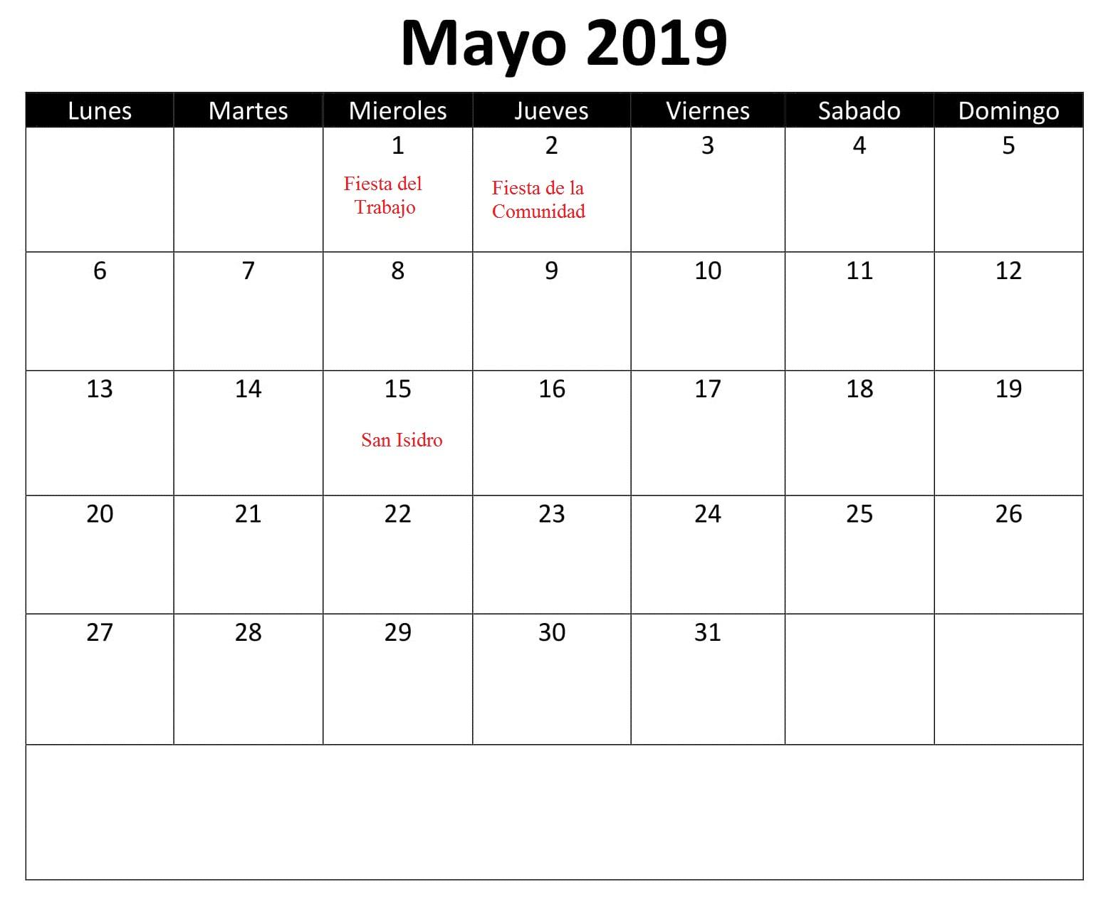 Calendario Mayo 2019 Estilos Con Festivos