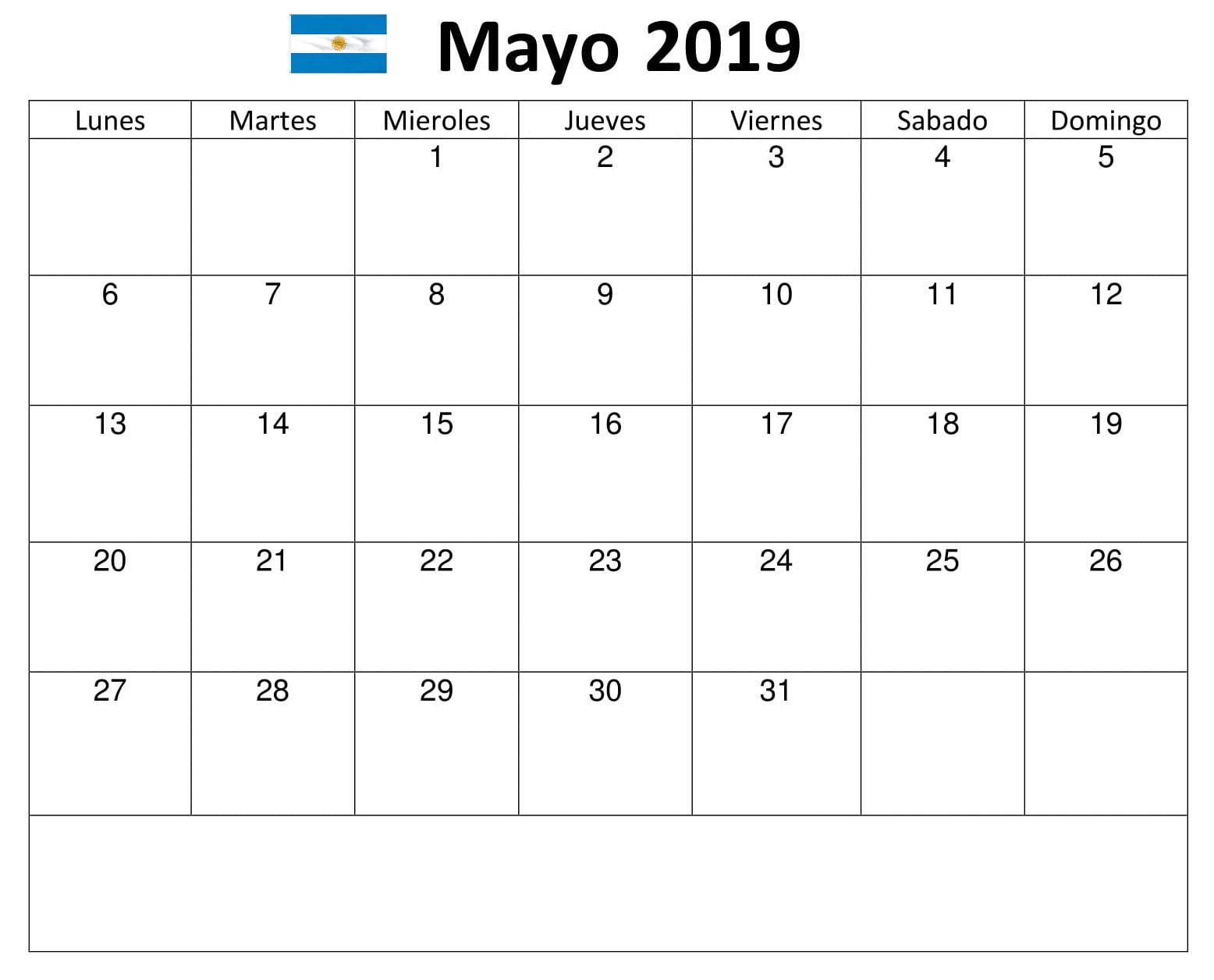 Calendario Mayo Argentina 2019 PDF