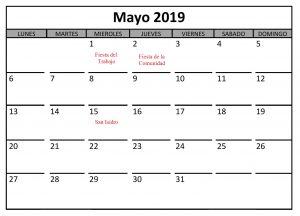 Calendario Mayo Con Festivos 2019 PDF