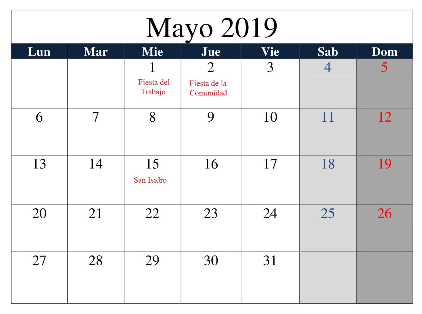 Calendario Mayo Grande 2019 Con Festivos