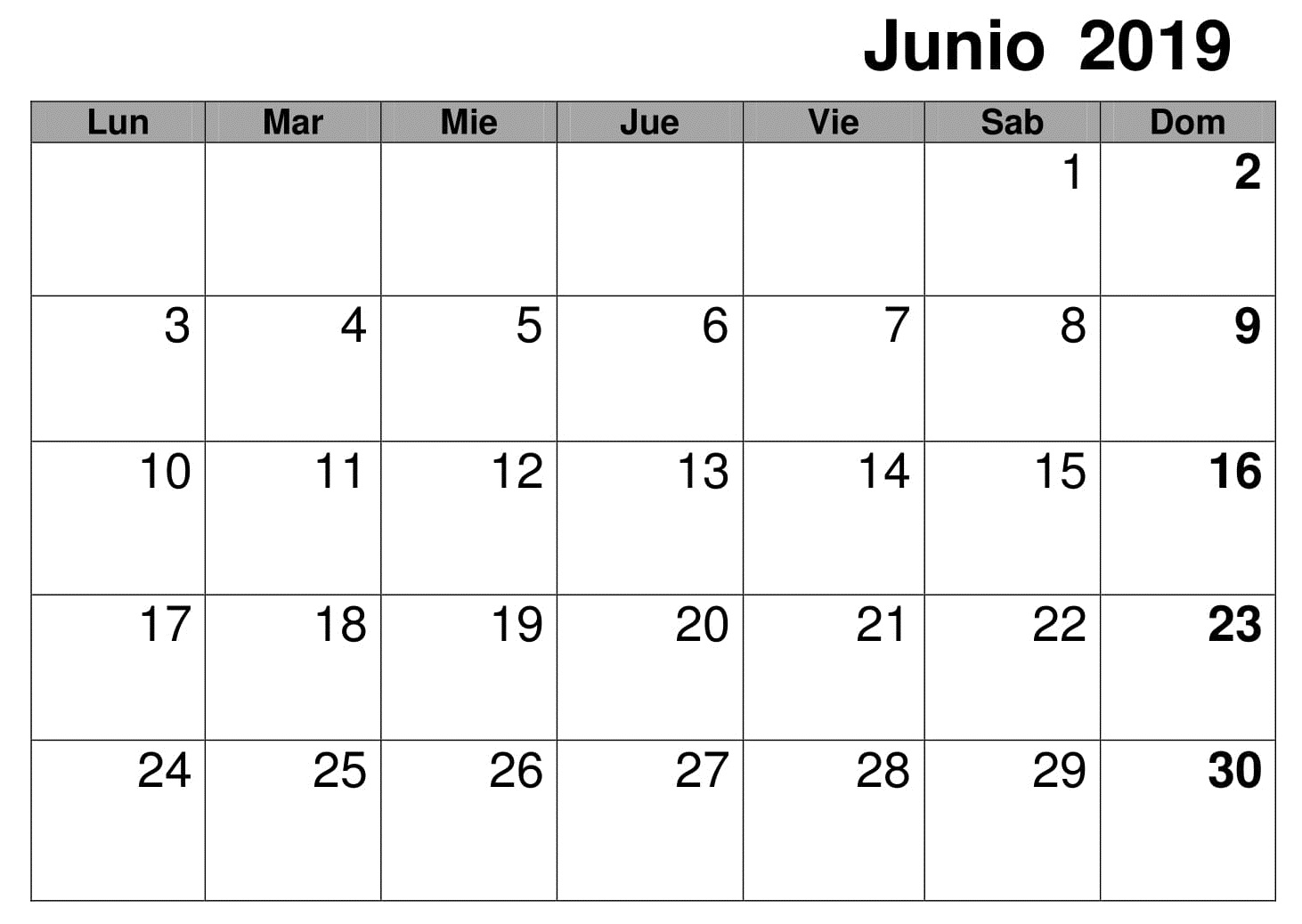 Calendario Mensual Junio 2019 Para Imprimir