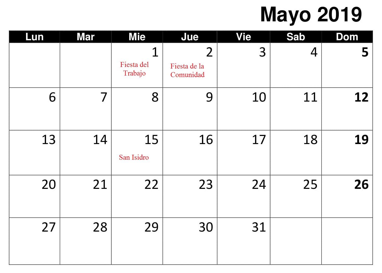 Calendario Mensual Mayo 2019 Con Festivos