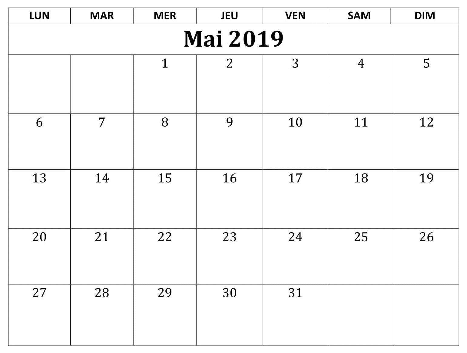 Calendrier 2019 Editable Mai
