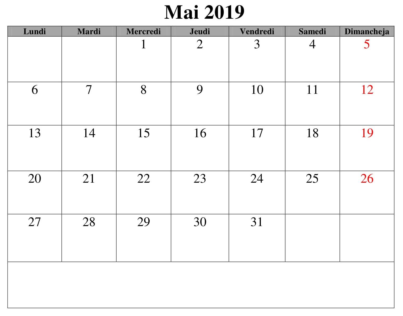 Calendrier Imprimable Mai 2019
