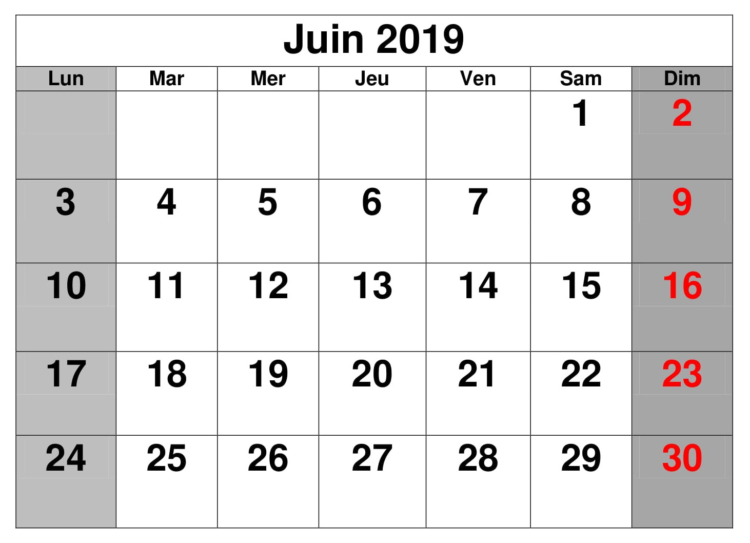 Calendrier Juin Editable 2019