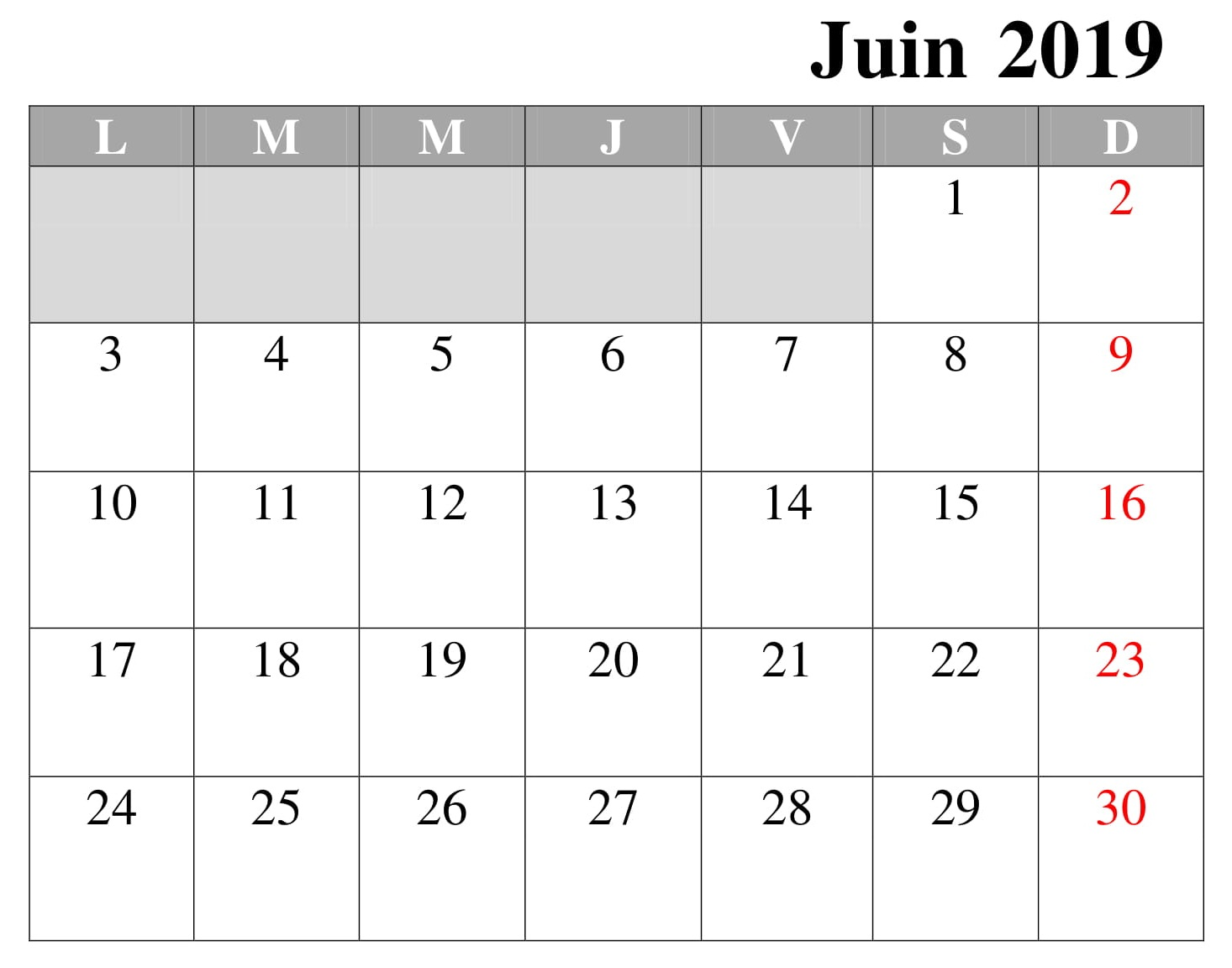 Calendrier Juin Imprimable 2019