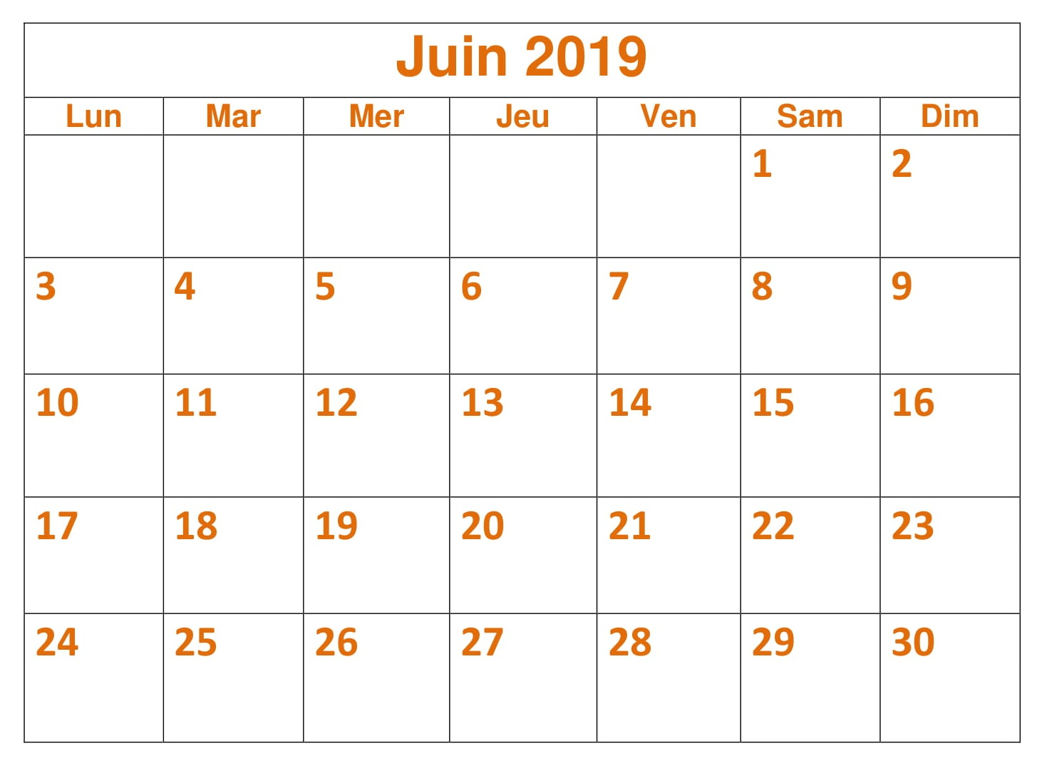 Calendrier Juin Planificateur 2019