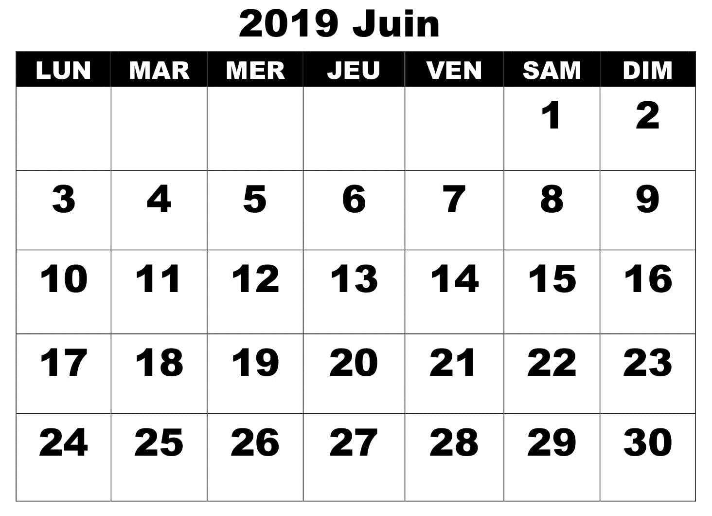 Calendrier Juin Word 2019