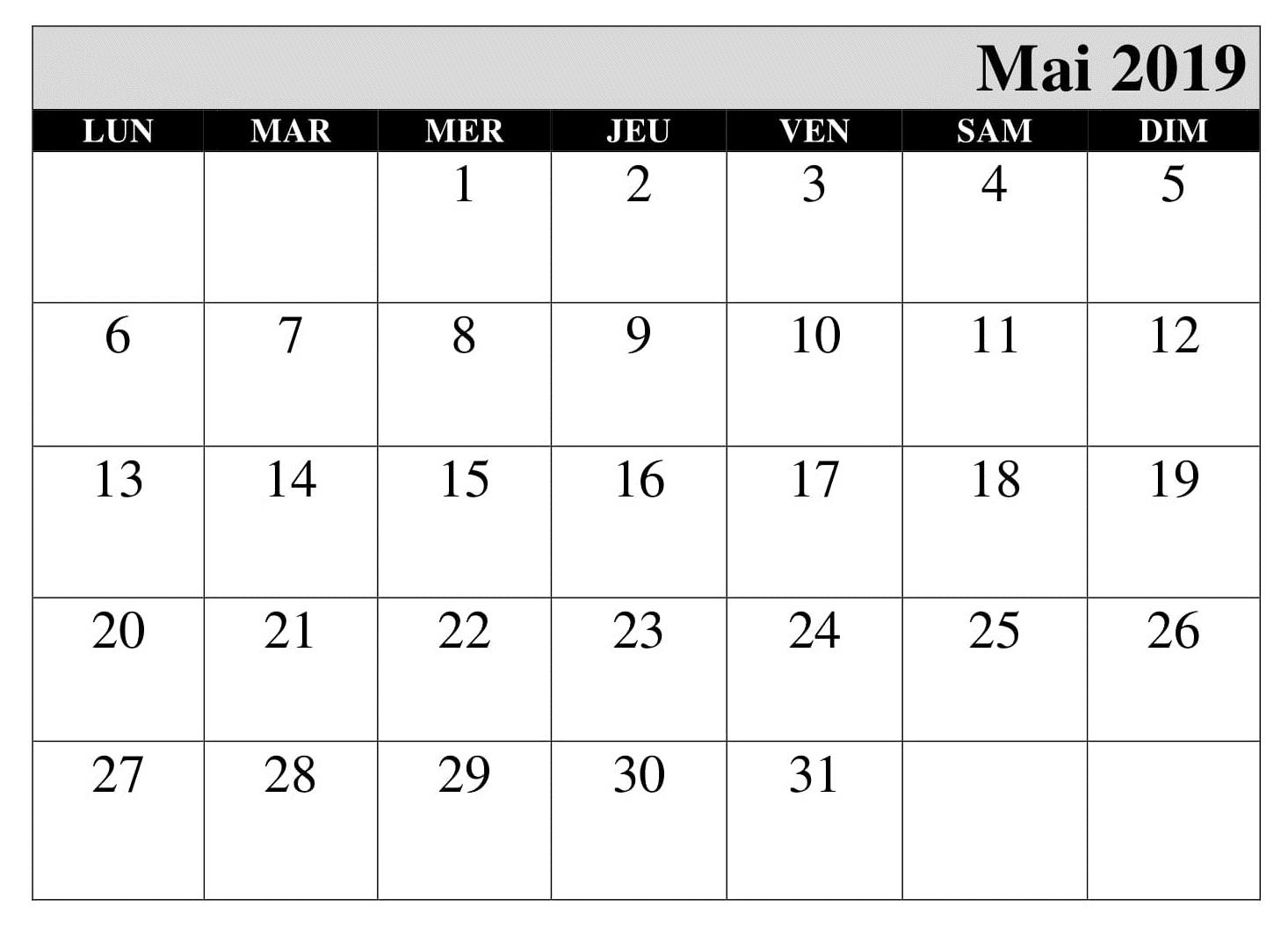 Calendrier Mai 2019 Imprimable PDF