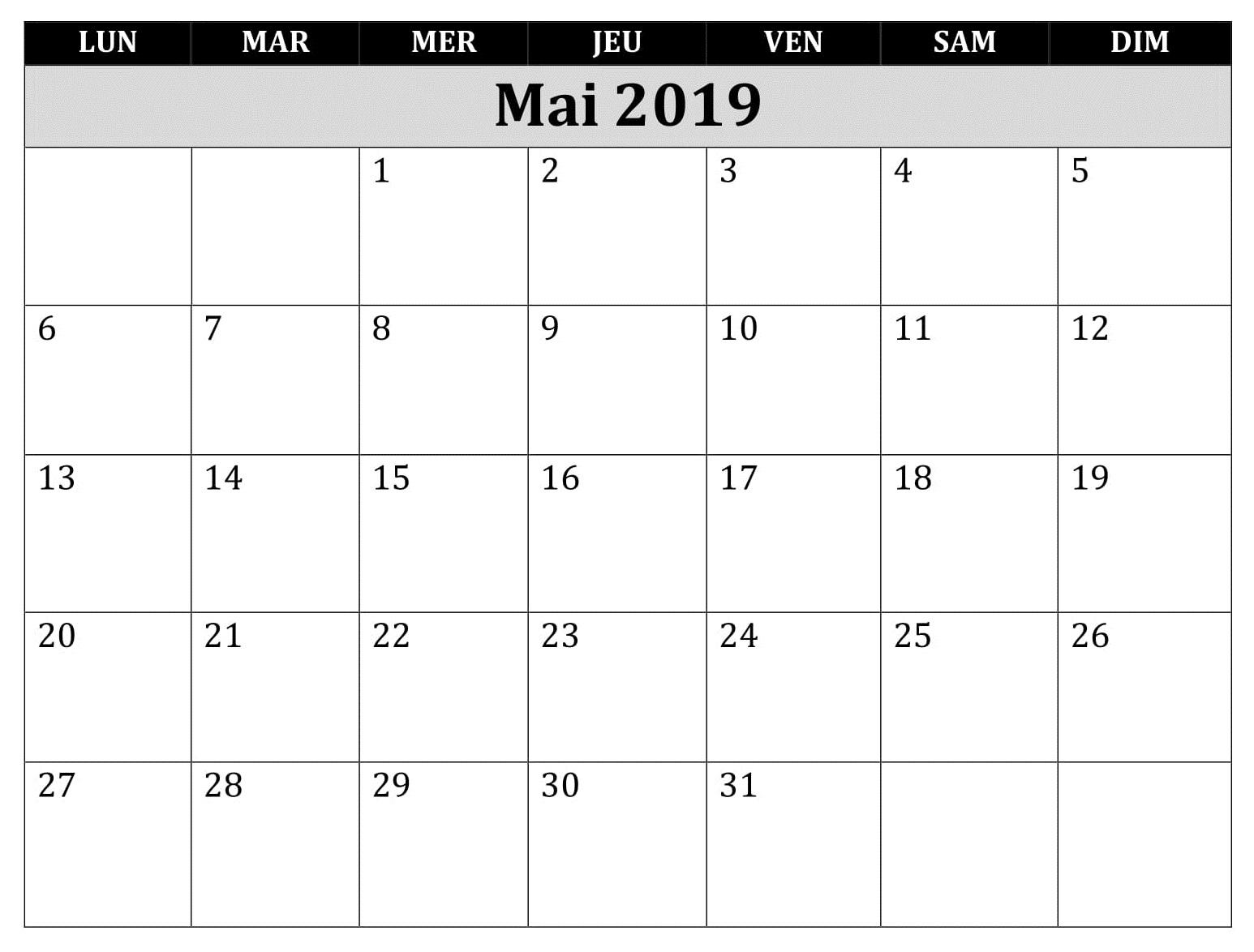 Calendrier Mai 2019 PDF