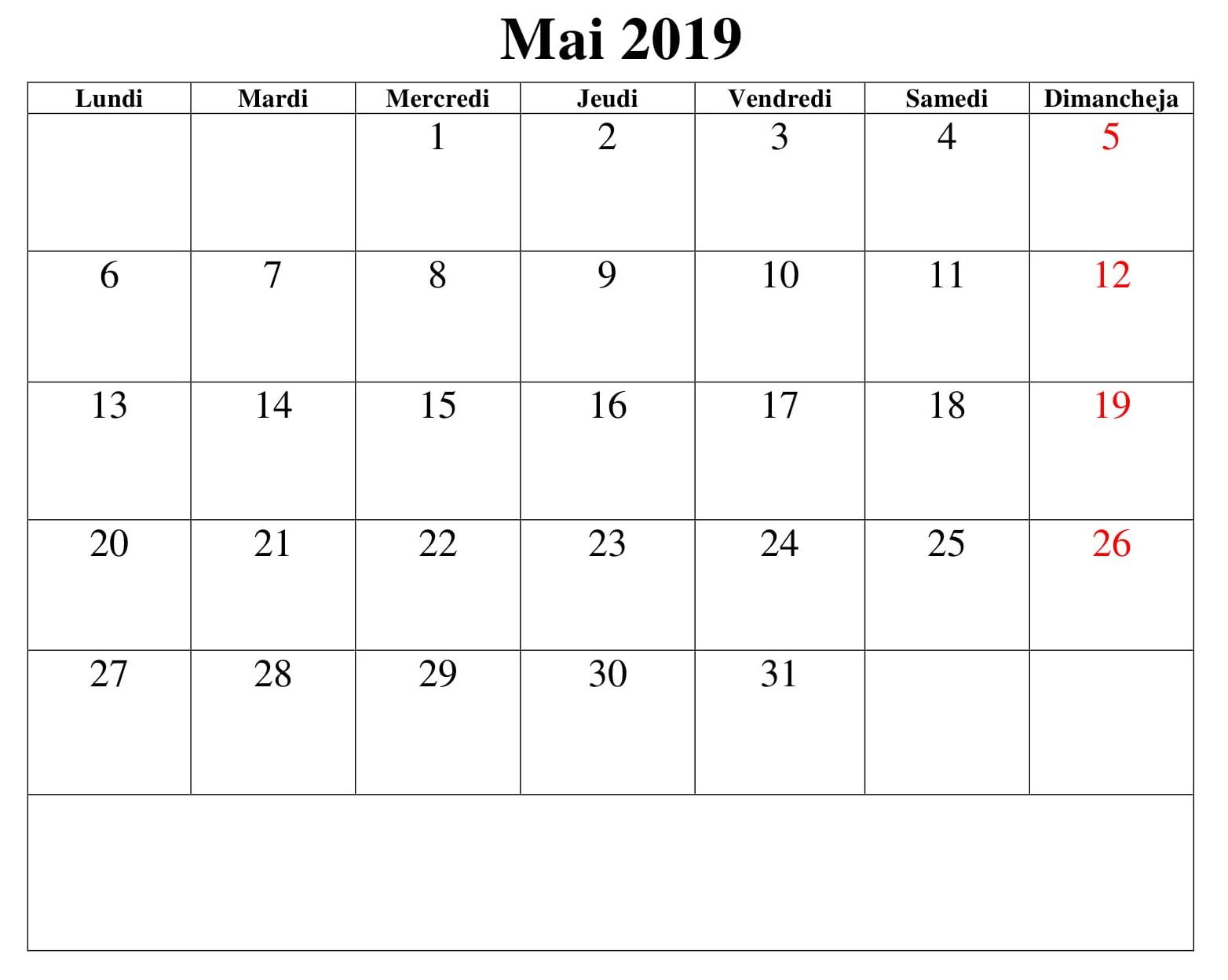 Calendrier Mai 2019 Vacances PDF