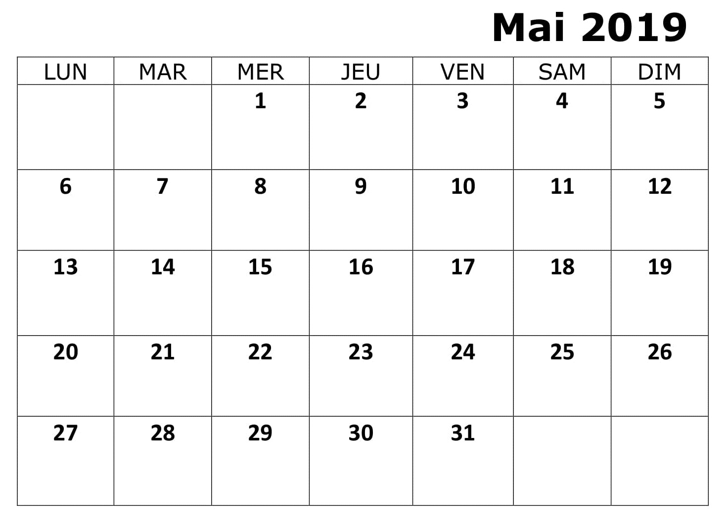 Calendrier Mois Mai 2019