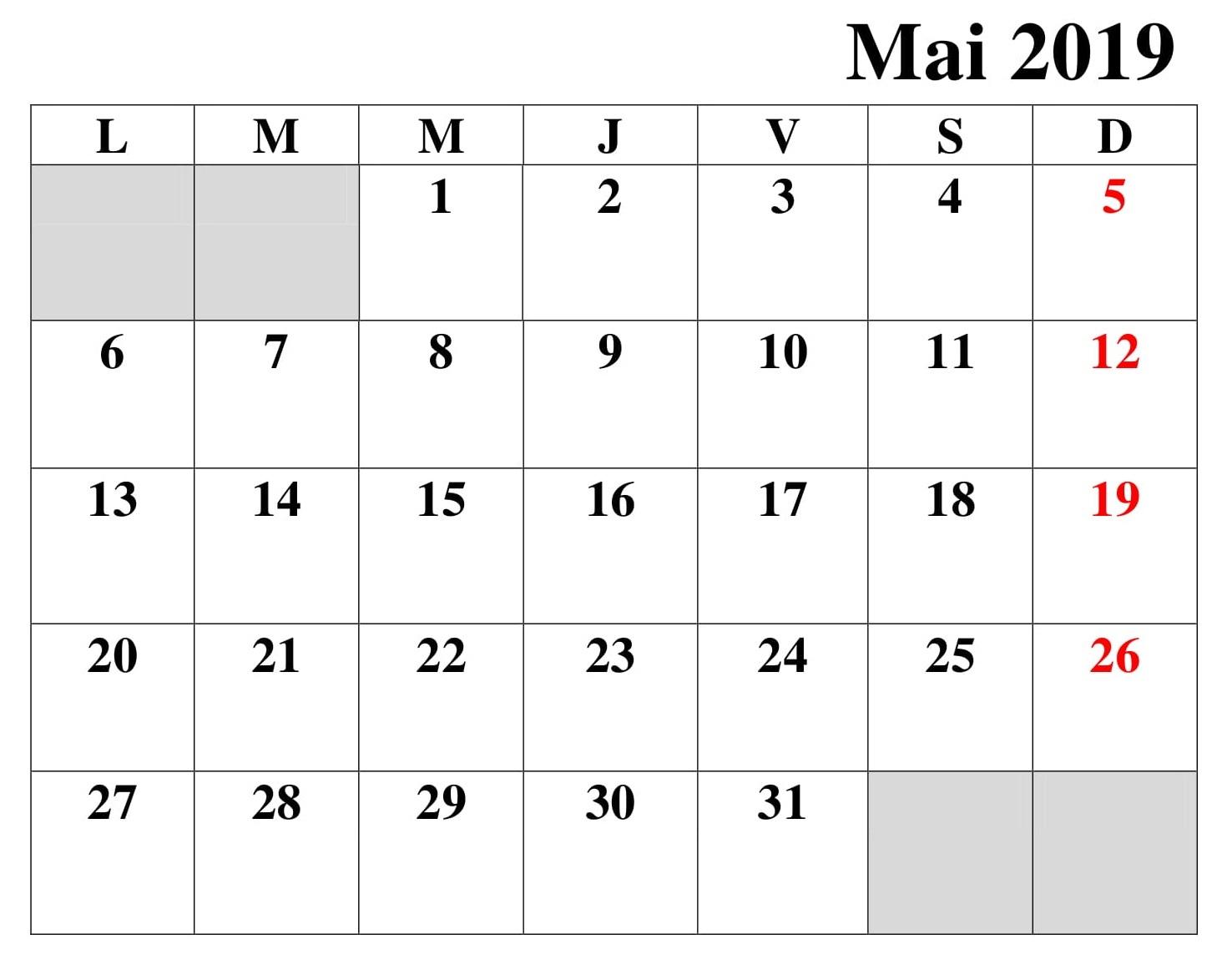 Calendrier Planificateur Mai 2019 PDF