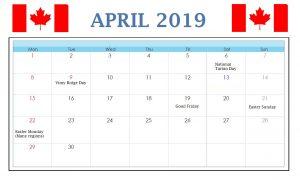Canada April 2019 Calendar
