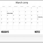 Canada Calendar For March 2019