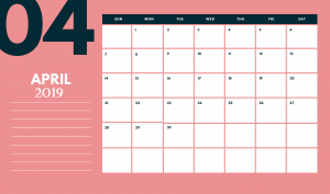 Cute 2019 April Desk Calendar Template