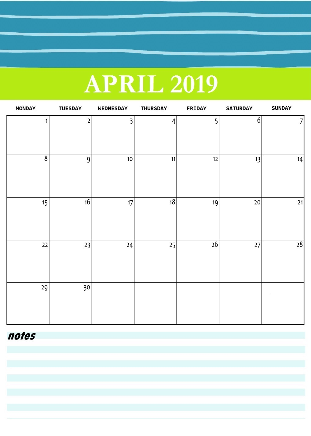 Cute April 2019 Printable Calendar