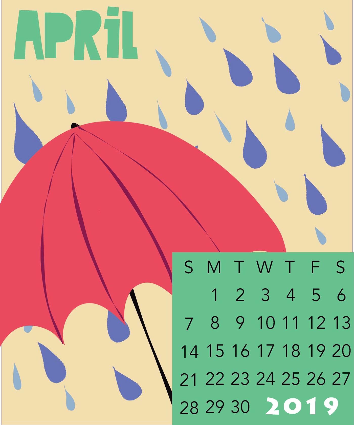 Cute April 2019 Wall Calendar