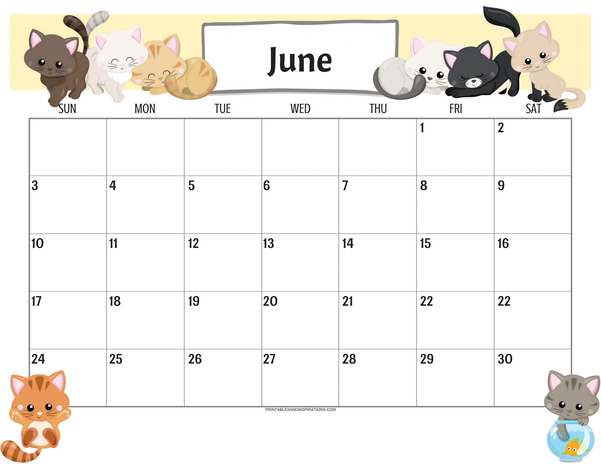 Cute June 2019 Calendar for Kids