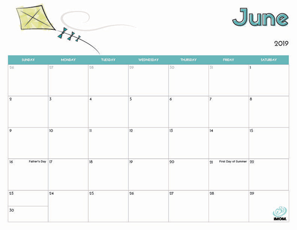 Cute June 2019 Calendar with Holidays