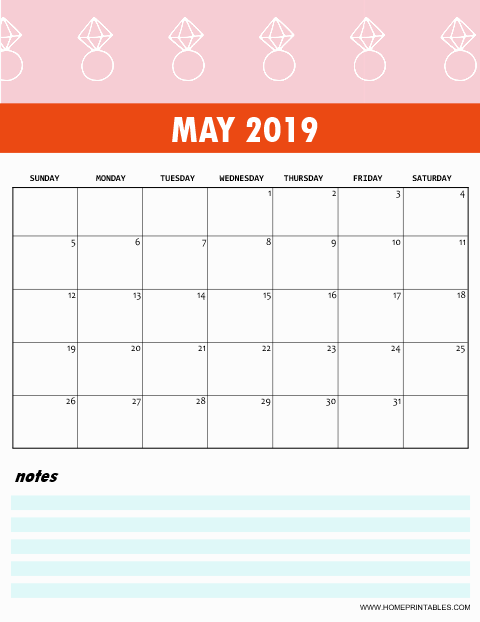 Cute May 2019 Calendar Template