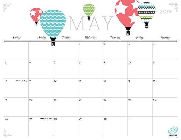 Cute May 2019 Calendar With Holidays