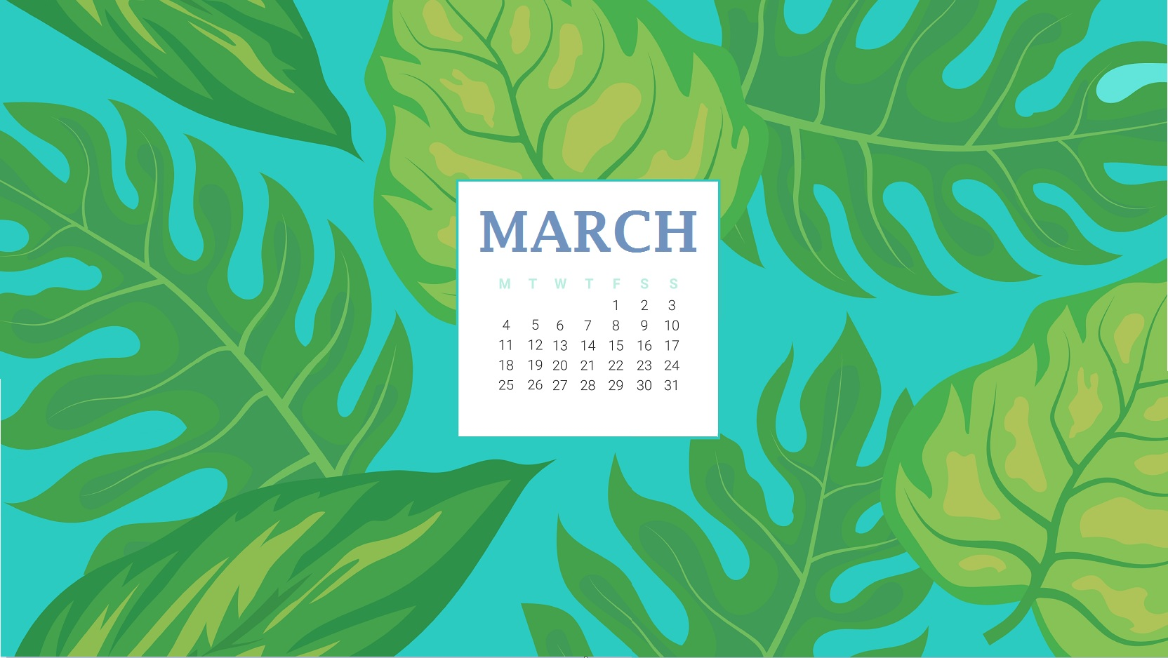 Desktop Wallpaper With March 2019 Calendar