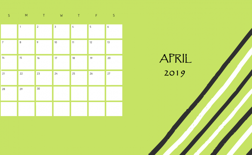 Editable April 2019 Desk Calendar